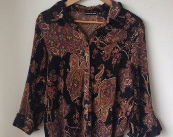 1970s-80s vintage pleated paisley patterned long-sleeved smart shirt blouse