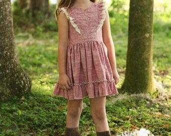 Girls dress, Handmade dress, Summer dress, Fall dress, girls clothing, Vintage inspired, Flutter sleeve dress, Katherine dress in ruched red