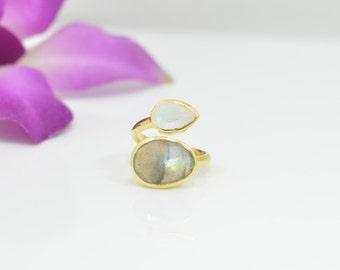 Labradorite Ring, Rainbow Moonstone Rings, Labradorite Gold Ring, Gold Moonstone Rings, Gold Adjustable Rings, Moonstone Expandable Rings