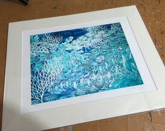 Bathroom Wall Art - CORAL REEF Decor - Ocean Life PRINT from Original Silk Painting - Blue & Turquoise Sea Life Art -Tropical Fish In Coral