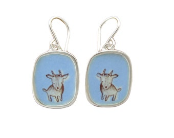 Goat Earrings - Sterling Silver and Vitreous Enamel Minature Goat Earrings