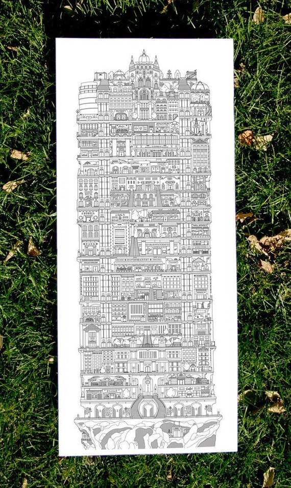 Original art - letterpress print - Vertical Cities (2nd edition)