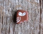Tiny Terracotta Beach Pottery Owl
