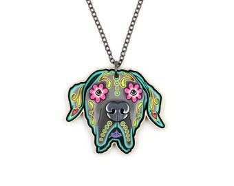 SALE Regularly 19.95 - Great Dane Necklace - Floppy Ear Edition - Day of the Dead Sugar Skull Dog Pendant