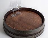 Banded Barrel Head Lazy Susan with Cooperage Stamp, Red Mahogany finish