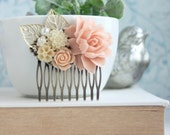 Blush Pink Peachy Rose, Ivory, Gold Plated Leaves, Peach Flower Comb. Bridesmaids Gift, Rustic Pink Ivory Wedding. Spring Wedding Hair Comb