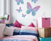 Five Watercolor Butterfly Wall Decals, Peel and Stick Removable and Reusable Eco-friendly Wall Stickers