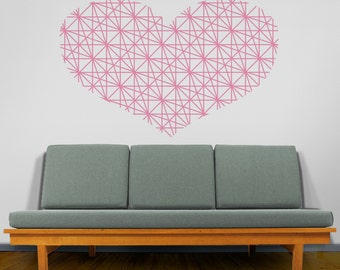 Heart vinyl wall decal, Geometric Heart Wall Decal, Love Wall Sticker, Heart Sticker, FREE SHIPPING