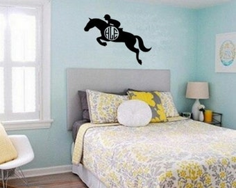 Horse, Monogram, Horse Monogram Decal Horse Initial Monogram Decal Horse Decal Child's Room Teen Room Horse Decal Approx. 35x 27 inches