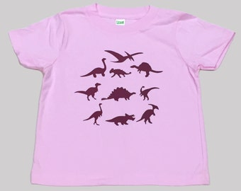 Dinosaurs Kids Organic T Shirt Pink