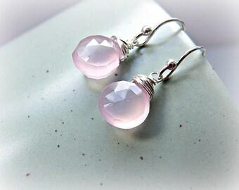 Earrings for Spring, pink chalcedony earrings, chalcedony silver earrings, pale pink dangle earrings, dainty pink earrings, drop earrings