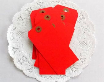 Red Shipping Tags / Junk Journal / Lot of 10 / Valentine Ephemera / Daily Planner / Red Hang Tags