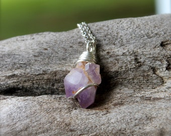 Raw Amethyst Necklace - February Birthstone - Rough Stone Necklace - Raw Stone Jewelry - Natural Amethyst Jewelry - Hippie Boho Jewelry