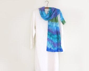 Scarf 100% Silk, Hand-dyed, Blues-Greens - Lavender- Aqua- Shibori,  Long Scarf