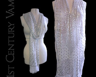 1920s Assuit Shawl. Silver on Snowy White. Egyptian Revival. Art Deco. Flapper. Jazz Age.