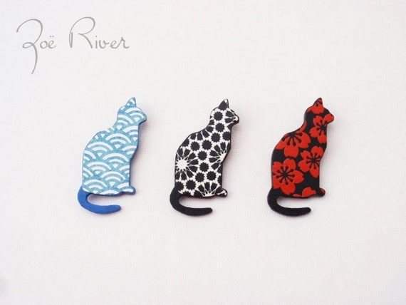 Cat brooch in red and black, or black and white. Red cat brooch. Black cat brooch.