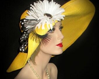 DAISY'S SPRING FLING - Yellow Kentucky Derby Hat, Black & White Polka Dot, Yellow Wide Brim Straw Derby Hat, Tea Party, Garden Party Hat,