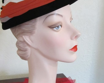 "Vintage 1950's ROBERTA BERNAY""S Tri-Color Togue  Day / Church  Hat size 22"