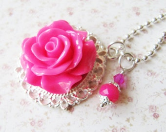 Pink flower necklace, hot pink jewelry, romantic jewelry, flower necklace, flower girl jewelry, for her