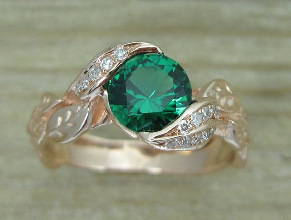Rose gold Leaf Ring Emerald Leaf Engagement Ring Emerald
