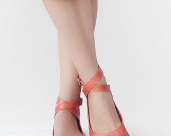 Pax - Criss-Cross ankle strap leather ballet flats - CUSTOM FIT