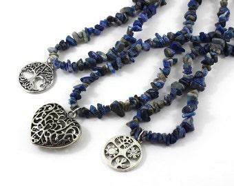 Lapis Lazuli Long Beaded Raw Stone Necklace Filigree Heart Four Seasons Pendant, Tree of life Inspirational Jewelry Healing Chakra Crystals