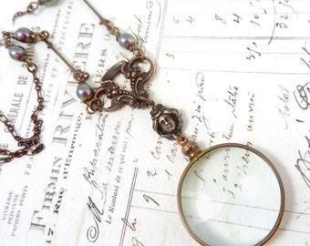 Art Nouveau Magnifying Glass Necklace, Monocle, Glass Lens, Long Necklace