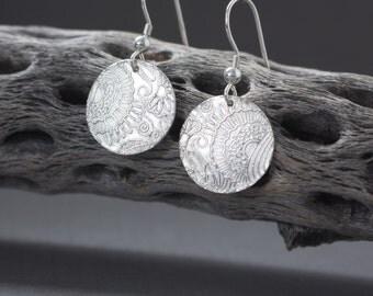 Circle Silver Earrings , PMC Earrings Fine Silver , Textured Pure silver earrings , Minimalist , Disk earrings , Lightweight , Everyday wear