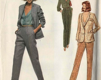 Vogue 1971 Jacket blazer notched lapel loose fit button front shirt straight pants slanted pockets Size 14 Calvin Klein uncut