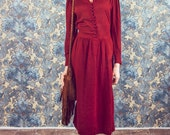 Vintage holiday dress,red holiday dress,40's dress style,red midi dress in size Medium