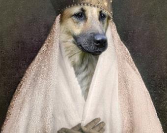 Anja, German Shepherd Print, Dog Art Note Cards, Victorian Decor, Anthropomorphic Dog, Whimsical Dog Art, Unique Wall Art, Dog Wall Decor