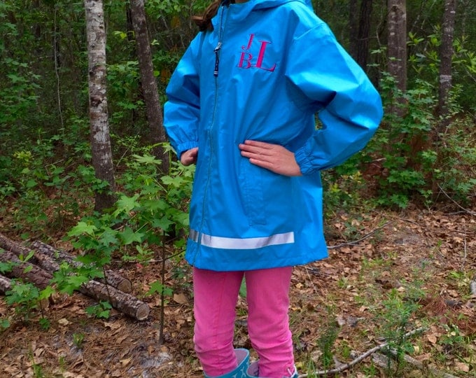 Girls Monogrammed Rain Jacket - Monogrammed gifts - Girls Monogram Rain Jacket - Monogrammed New Englander Jacket - Girls Rain Jacket