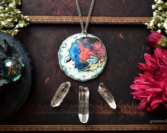 """Illustrated Necklace - """"Moth and the Moon"""" by Grace and the Wolf, shrink plastic, resin and stainless steel chain, 50cm/20 inches long"""