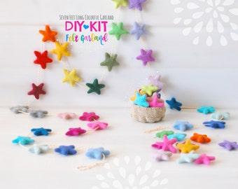 DIY Garland Kit - Felt Star Garland - DIY Kit - Colorful Garland - 30 Stars - tars Garland - Party Decor Garland - 7' Felt Ball Garland