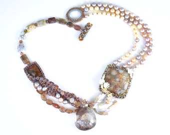Multi Gemstone Necklace in Lodolite, Fossil Coral, Tourmaline, Pearls; Natural Stone Jewelry; Asymmetric Beaded Art Jewelry; One of a Kind