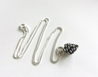 Pine Cone Necklace Sterling Silver pine cone pendant nature charm silver necklace small charm botanical