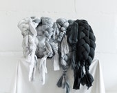 Plaited Bed Runner / Grey and White / Unique Bedspread / Hand Dyed Sofa Throw / Decorative Braid Bed Throw / Handmade Bed Scarf.