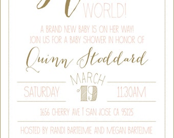 hello world ** baby shower invitation