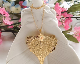 Leaf Necklace - Gold Plated, leaf jewelry, necklaces