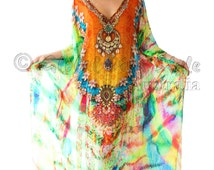 Kaftan dress, 100% Viscose  Georgette multicolored heavily embellished relaxed fit gorgeous kaftan for beach or smart casual wear