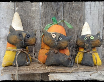 Primitive Black Cat Halloween Folk Art, Pumpkin Candy Corn, Autumn Fall Decor, OFG FAAP