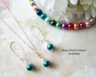 Teal Necklace-Teal Earrings-Bridesmaid Earrings-Bridesmaid Necklace-Teal Jewelry-Pearl Jewelry-Wedding Jewelry-Bridesmaid Jewelry Set