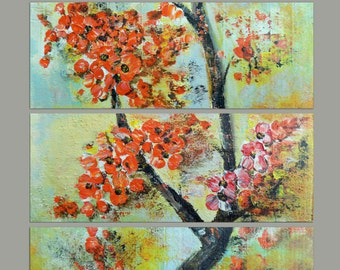 Modern art painting set polyptych, blooming branch red flowers painting, original artwork, painting art in six wood pieces wall decor art