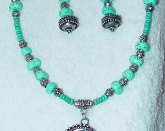 Chinese Turquoise Pendant Necklace & Earrings