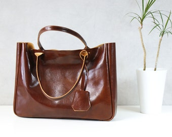 Brown Leather Tote Bag – BELLA Cognac Brown - Medium Size Handmade Leather Tote