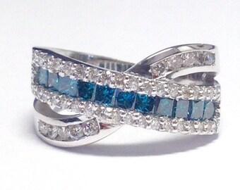 1.50CT Diamond X Ring White & Blue Colored Diamonds CrissCross Anniversary Ring Right Hand Rings Platinum, 18K, 14K White, Yellow, Rose Gold