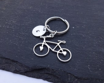 Initial Bicycle Keyring, Hand Stamped Keyring, Bike Keyring, Cyclist Gift, Charm Keyring, Personalised Keyring, Bicycle Keychain