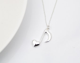 Music Note Necklace, Music Charm Necklace, Sterling Silver Necklace