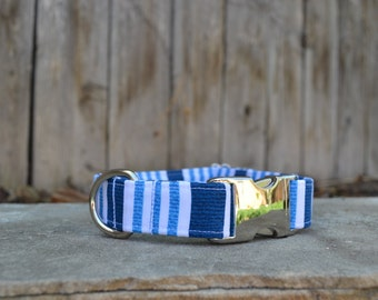 Striped Dog Collar, White, Blue, Navy, Male Dog Collar, Boy Dog Collar, White Striped Dog Collar, Blue Striped Dog Collar