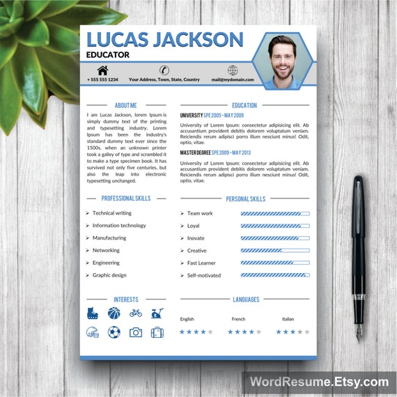 creative professional resume template cv template cover. Black Bedroom Furniture Sets. Home Design Ideas